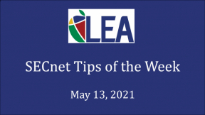SECnet Tips of the Week - May 13, 2021