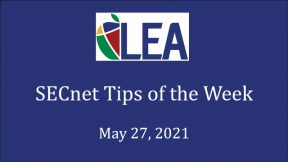 SECnet Tips of the Week - May 27, 2021