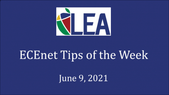 ECEnet Tips of the Week - June 9, 2021