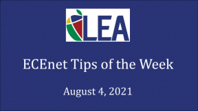 ECEnet Tips of the Week - August 4, 2021