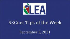 SECnet Tips of the Week - September 2, 2021