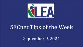 SECnet Tips of the Week - September 9, 2021