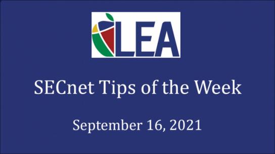 SECnet Tips of the Week - September 16, 2021