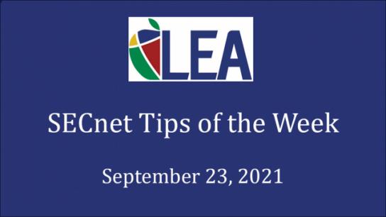 SECnet Tips of the Week - September 23, 2021
