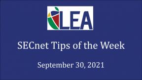 SECnet Tips of the Week - September 30, 2021
