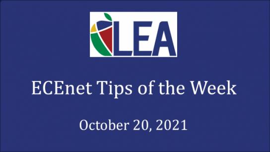 ECEnet Tips of the Week - October 20, 2021